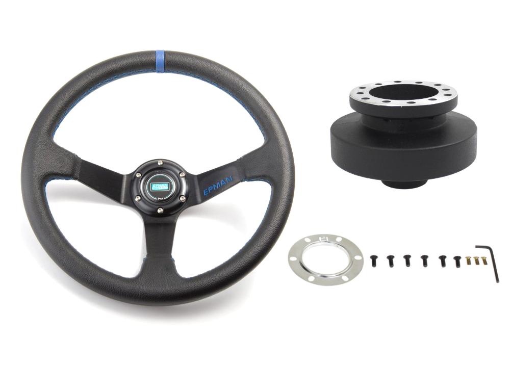 Kierownica sportowa BMW E36 Niebieska Skóra Zestaw - GRUBYGARAGE - Sklep Tuningowy