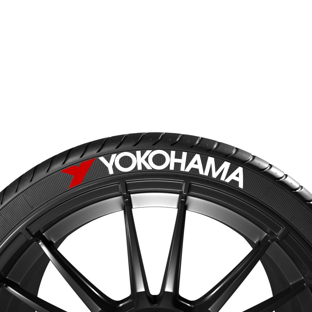 Białe napisy na opony YOKOHAMA + LOGO (8szt.) - GRUBYGARAGE - Sklep Tuningowy