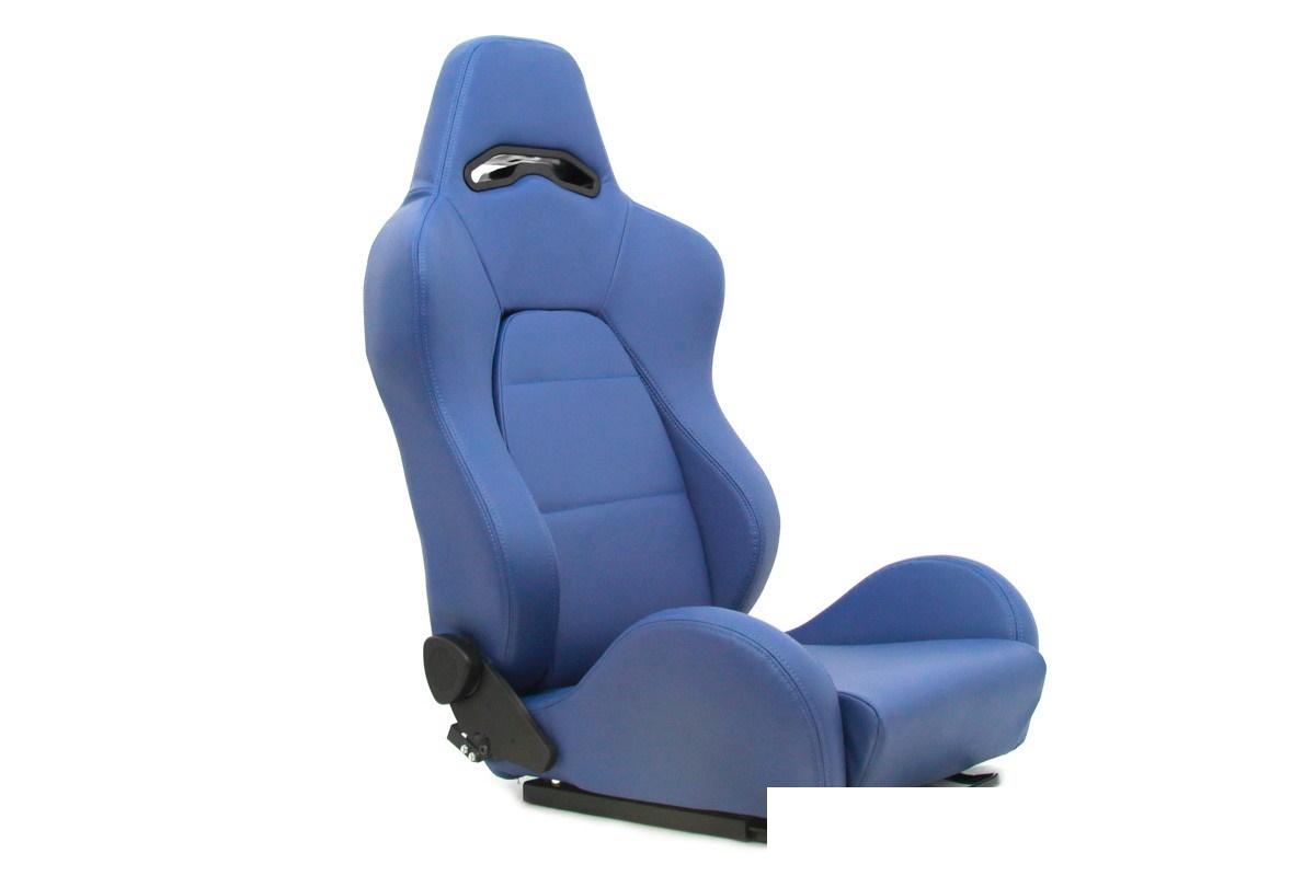 Fotel sportowy DRAGO Skóra Blue - GRUBYGARAGE - Sklep Tuningowy