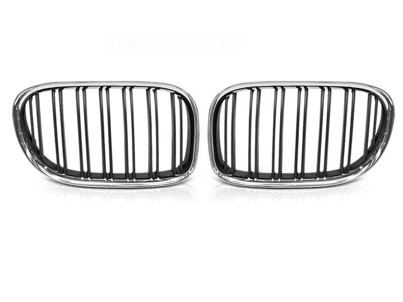 GRILLE CHROME BLACK DOUBLE BAR fits BMW F01 09-15 - GRUBYGARAGE - Sklep Tuningowy