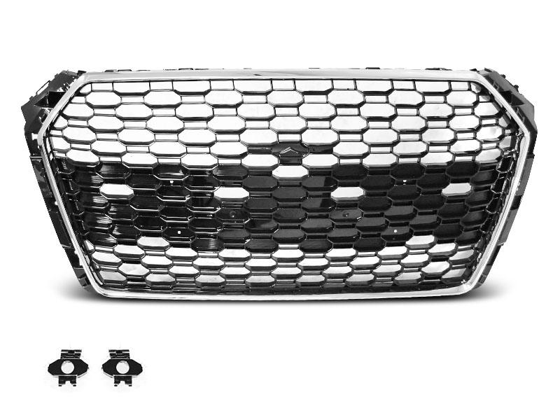 GRILLE SPORT CHROME BLACK PDC fit AUDI A4 B9 15-19 - GRUBYGARAGE - Sklep Tuningowy