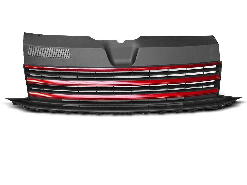 GRILLE BLACK RED fits VW T6 15-19 - GRUBYGARAGE - Sklep Tuningowy