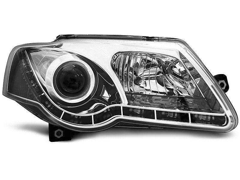 HEADLIGHTS TRUE DRL CHROME fits VW PASSAT B6 3C 03.05-10 - GRUBYGARAGE - Sklep Tuningowy