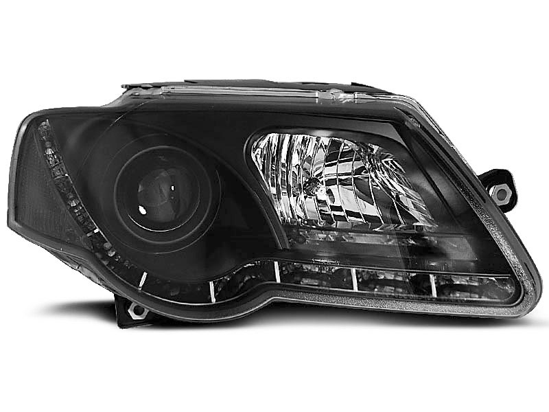 HEADLIGHTS TRUE DRL BLACK fits VW PASSAT B6 3C 03.05-10 - GRUBYGARAGE - Sklep Tuningowy